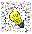 concept idea light bulb in pop art style vector image