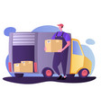 courier parcel background delivery service van vector image vector image
