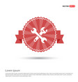 crossed wrench tools icon - red ribbon banner vector image