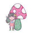 cute little fairy with fungus vector image