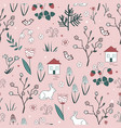 cute spring seamless pattern with cartoon vector image