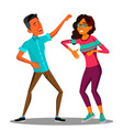 dancing couple man and woman isolated vector image