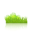 Easter set eggs in green grass isolated on white vector image vector image