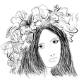 Girl wearing a wreath ink sketch vector image vector image