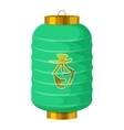 Green chinese paper lantern icon cartoon style vector image vector image