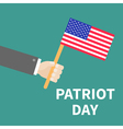 Hand with american flag Patriot Day background vector image