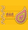 happy diwali yellow template with floral paisley vector image vector image