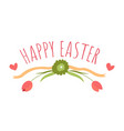 happy easter greeting banner with flowers and vector image vector image