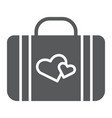 honeymoon glyph icon briefcase and love baggage vector image vector image