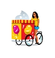 Ice Cream Cart and Woman Cartoon vector image vector image