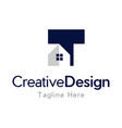 letter t home realty creative business logo vector image vector image