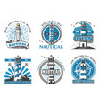lighthouse and beacon navigation icons vector image