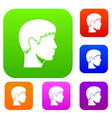man head set collection vector image vector image