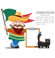 man with mexican flag mexican and black cat vector image