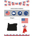 map of oregon set of flat design icons vector image