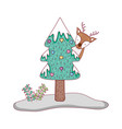 merry christmas tree with reindeer vector image