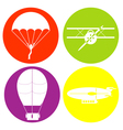 monochrome icon set with parachute aircraft airshi vector image vector image