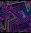 neon geometric arrows seamless pattern vector image