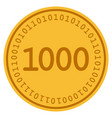 one thousand digital coin vector image vector image