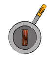 pan with bacon stripes ico vector image vector image