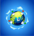 Planet earth with a note paper and pins vector image vector image