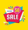 sale concept banner design discount 50 percent vector image vector image