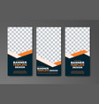 set of vertical web banners in black with orange vector image vector image