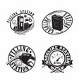 set vintage petrol station emblems design vector image