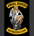 sexy angel and motorcycle engine vector image