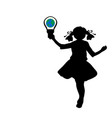 silhouette girl holds symbol earth hour vector image