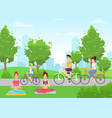 summer outdoor activities flat vector image vector image