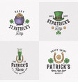 vintage style saint patricks day logo or label vector image