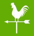 weather vane with cock icon green vector image vector image