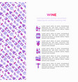 wine concept with thin line icons vector image vector image