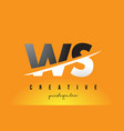 ws w s letter modern logo design with yellow vector image vector image