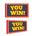 you win text announce on retro or vintage light vector image vector image