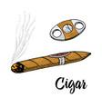 cigar or smoke gentleman emblem bad habit vector image