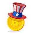bitcoin in american hat vector image