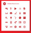 25 record icons vector image vector image