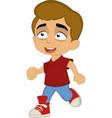 a boy walking happy vector image vector image