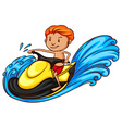 A sketch of a boy riding a water vehicle vector image vector image