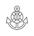 anchor an swim ring outline icon on white vector image vector image