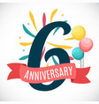 anniversary 6 years template with ribbon vector image vector image