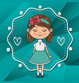 beautiful girl with hearts and lace kawaii vector image vector image