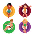 black and caucasian children kids floating vector image vector image