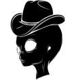 black silhouette alien head with hat