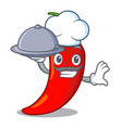 chef with food hot chili pepper on cartoon table vector image