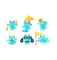 cute cartoon monster character set funny devil in vector image vector image
