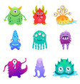 cute cartoon monsters alien character set vector image
