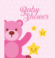 cute pink bear and stars cartoon baby shower card vector image